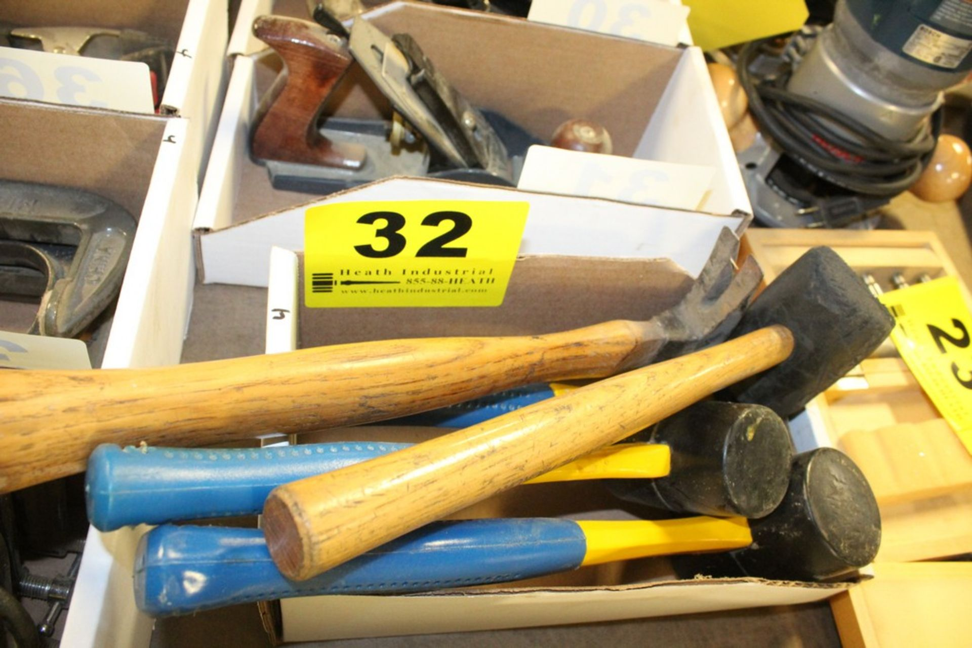 Lot 32 - ASSORTED HAMMERS AND MALLETS IN BOX