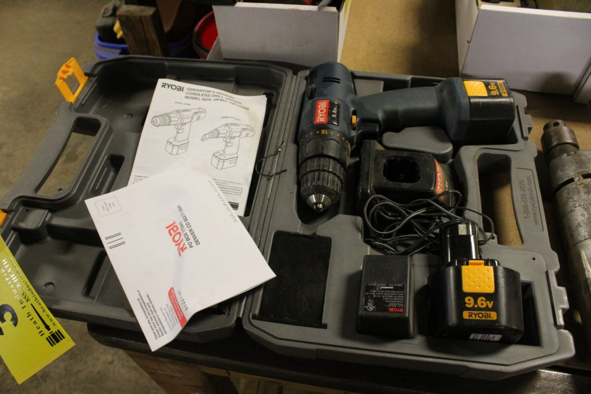 Lot 3 - RYOBI CORDLESS DRILL, MODEL HP962, WITH CHARGER, BATTERY AND CASE