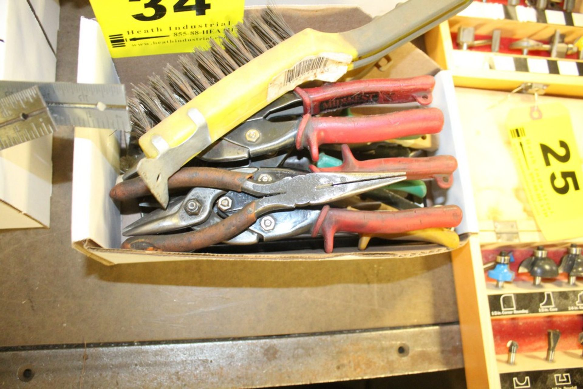 Lot 34 - ASSORTED PLIER, METAL SNIP, WIRE BRUSHES, ETC. IN BOX