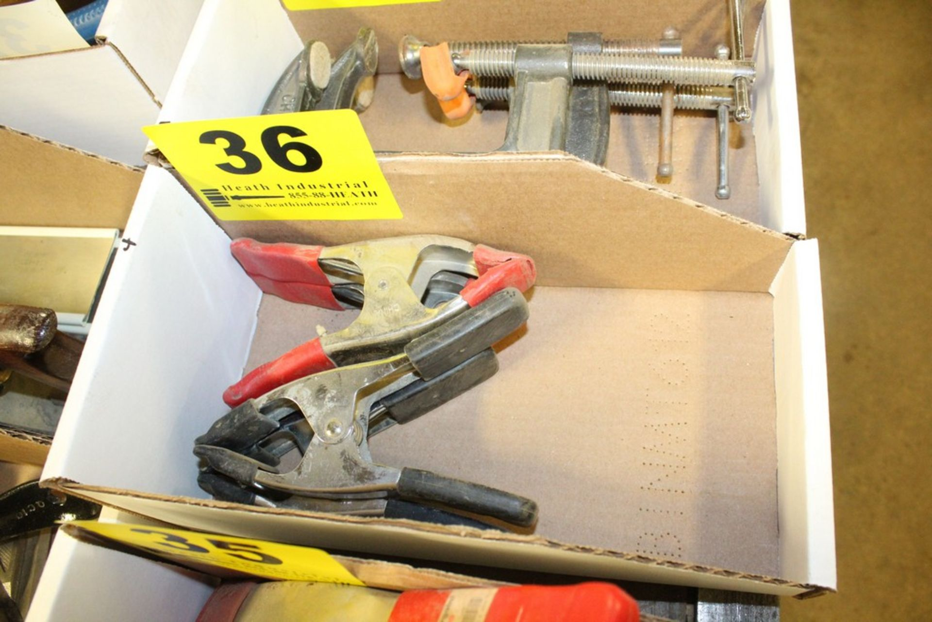 Lot 36 - ASSORTED SPRING CLAMPS IN BOX
