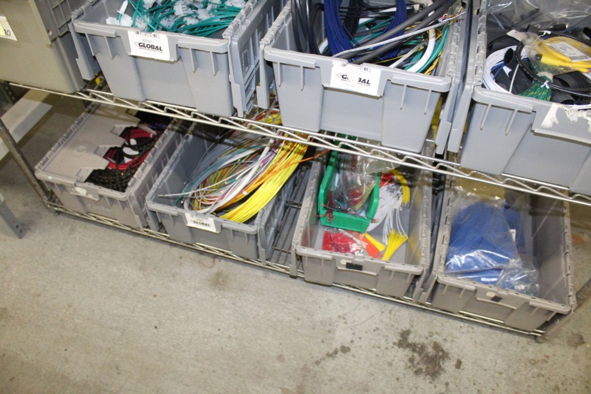 Lot 2048 - WIRE AND COMPONENTS ON SHELVES, NO SHELVING