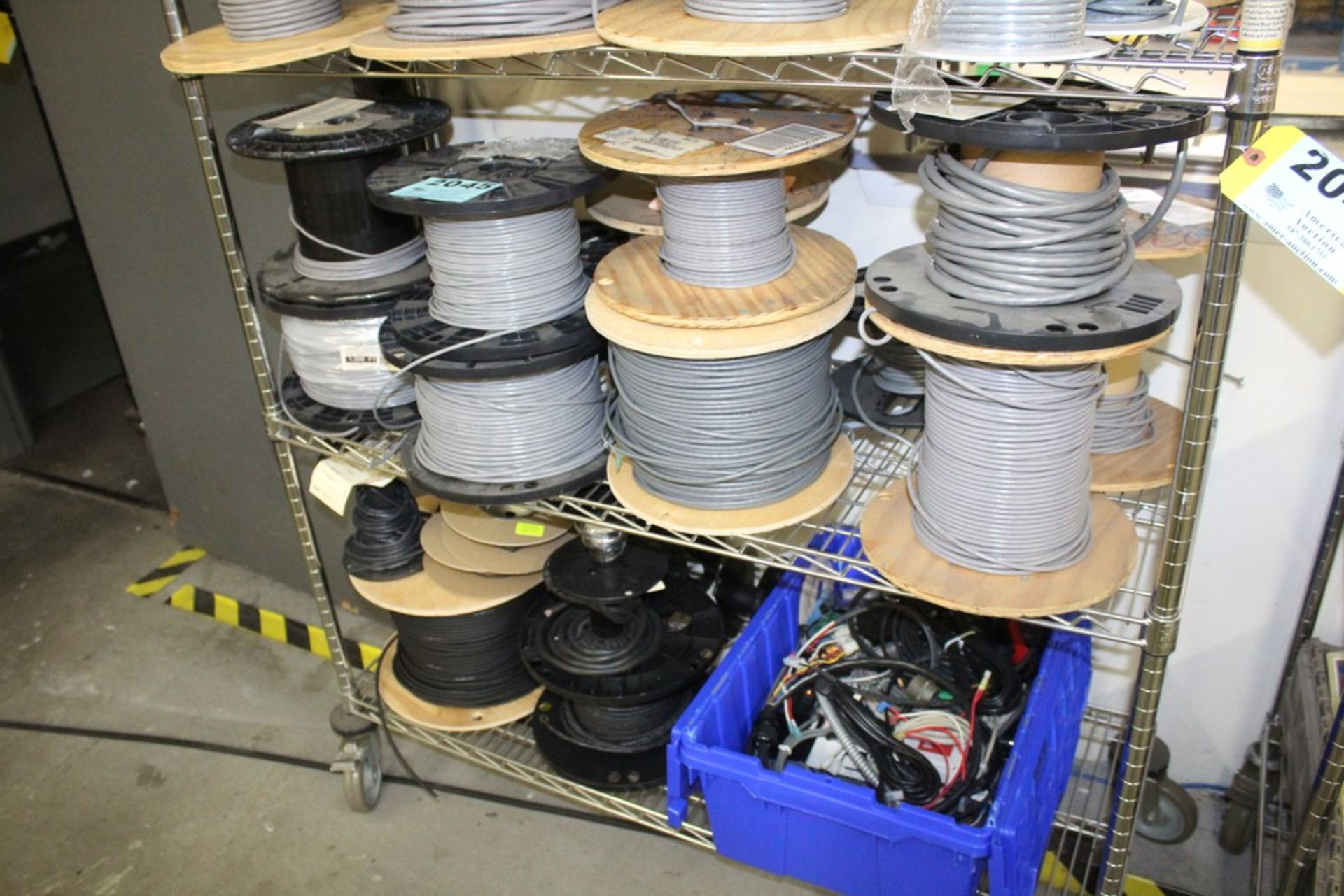 Lot 2045 - WIRE AND COMPONENTS ON TWO SHELVES, NO SHELVING