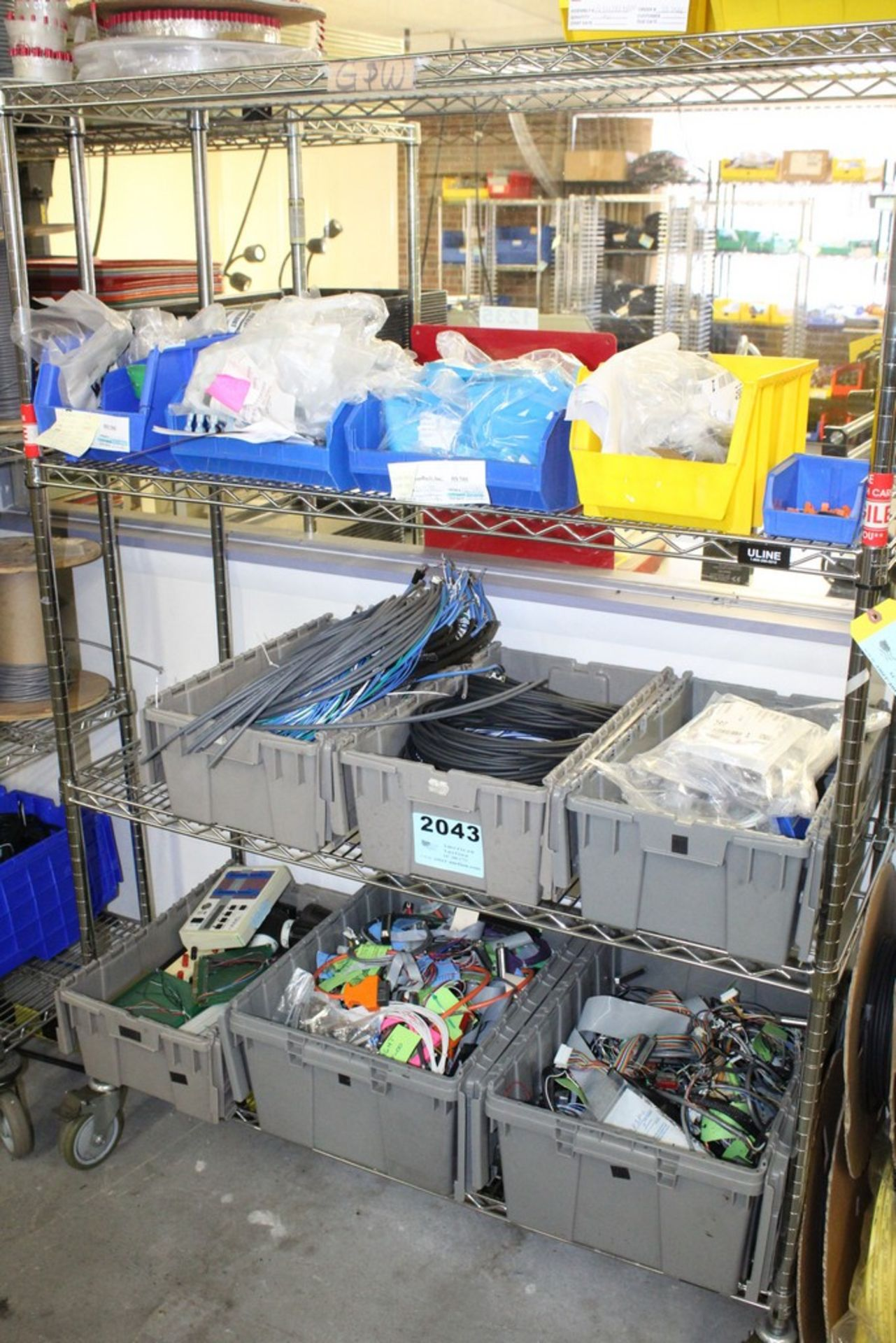 Lot 2043 - WIRE AND COMPONENTS ON SHELVES, NO SHELVING
