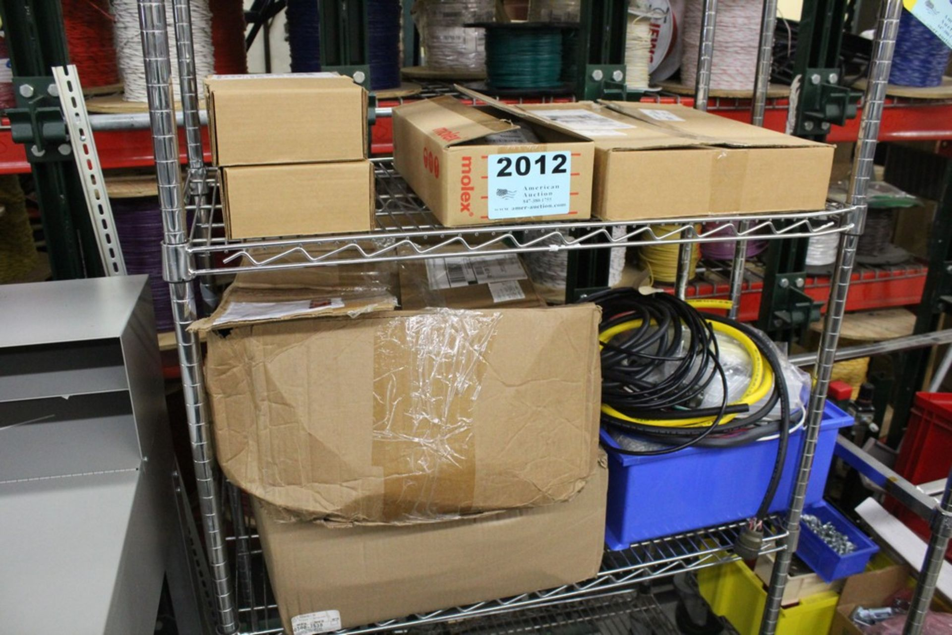 Lot 2012 - ASSORTED WIRE AND COMPONENTS ON SHELVES, NO SHELVING