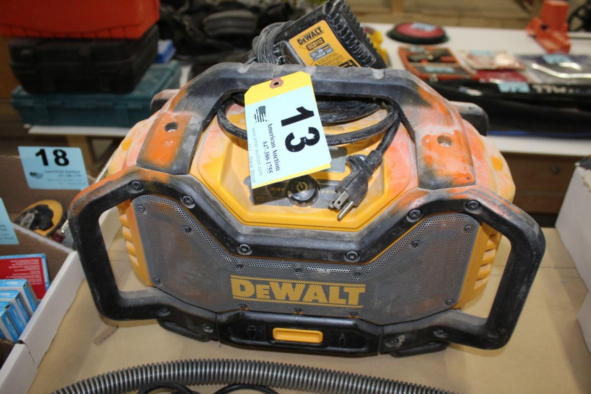 Lot 13 - DEWALT RADIO WITH DEWALT DCB112 CHARGER (NO BATTERY)