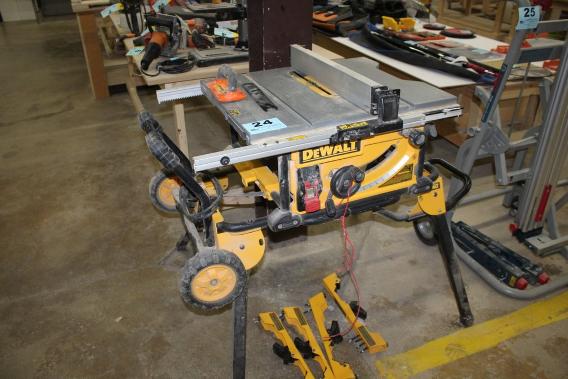 "Lot 24 - DEWALT MODEL DWE7491 10"" JOBSITE TABLE SAW WITH PORTABLE TABLE"