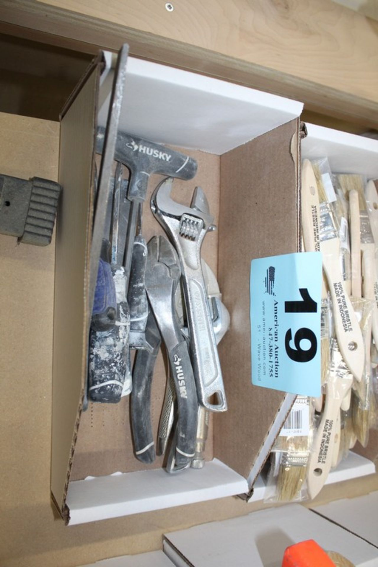 Lot 19 - ASSORTED TOOLS INCLUDING CRESCENT, WRENCH, PLIERS, SCREWDRIVERS, ETC.