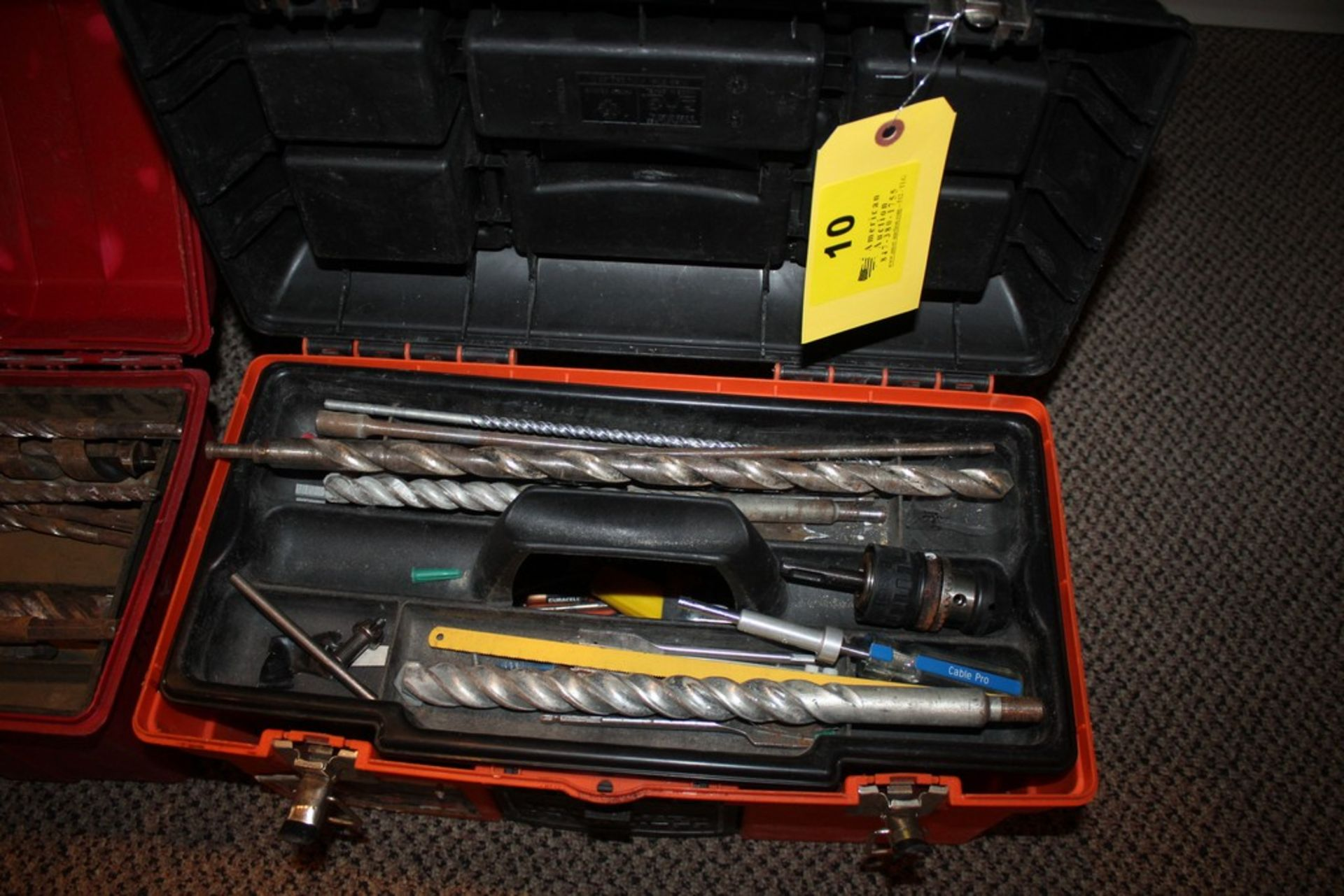 Lot 10 - LARGE MASONRY BITS AND HOLE SAWS IN TOOL BOX