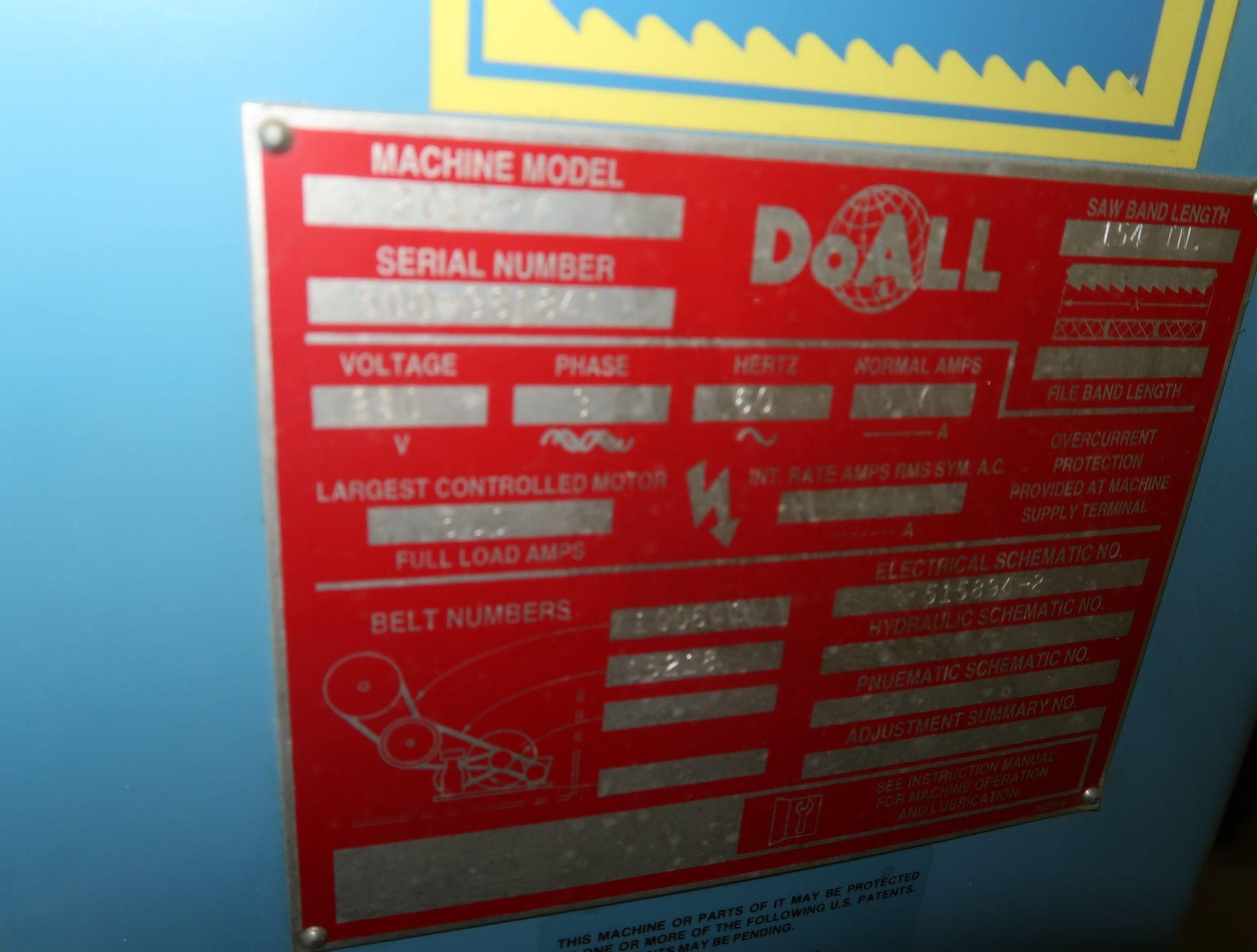 Lot 4 - DOALL MDL. 2013V VERTICAL BAND SAW, SN. 500-981841