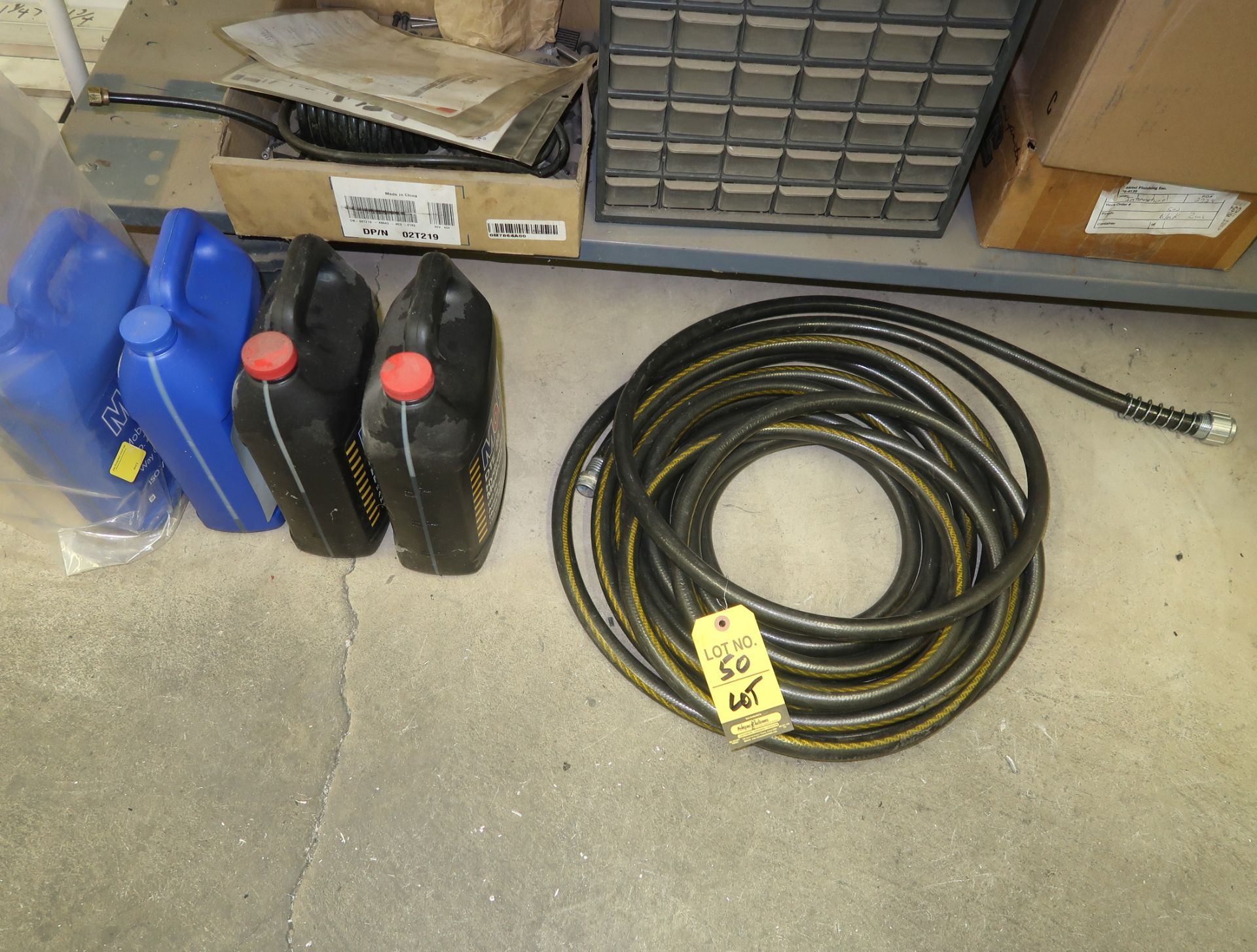 Lot 50 - LOT HOSE, NUT & BOLT BIN, ETC. UNDER SHOP TABLE