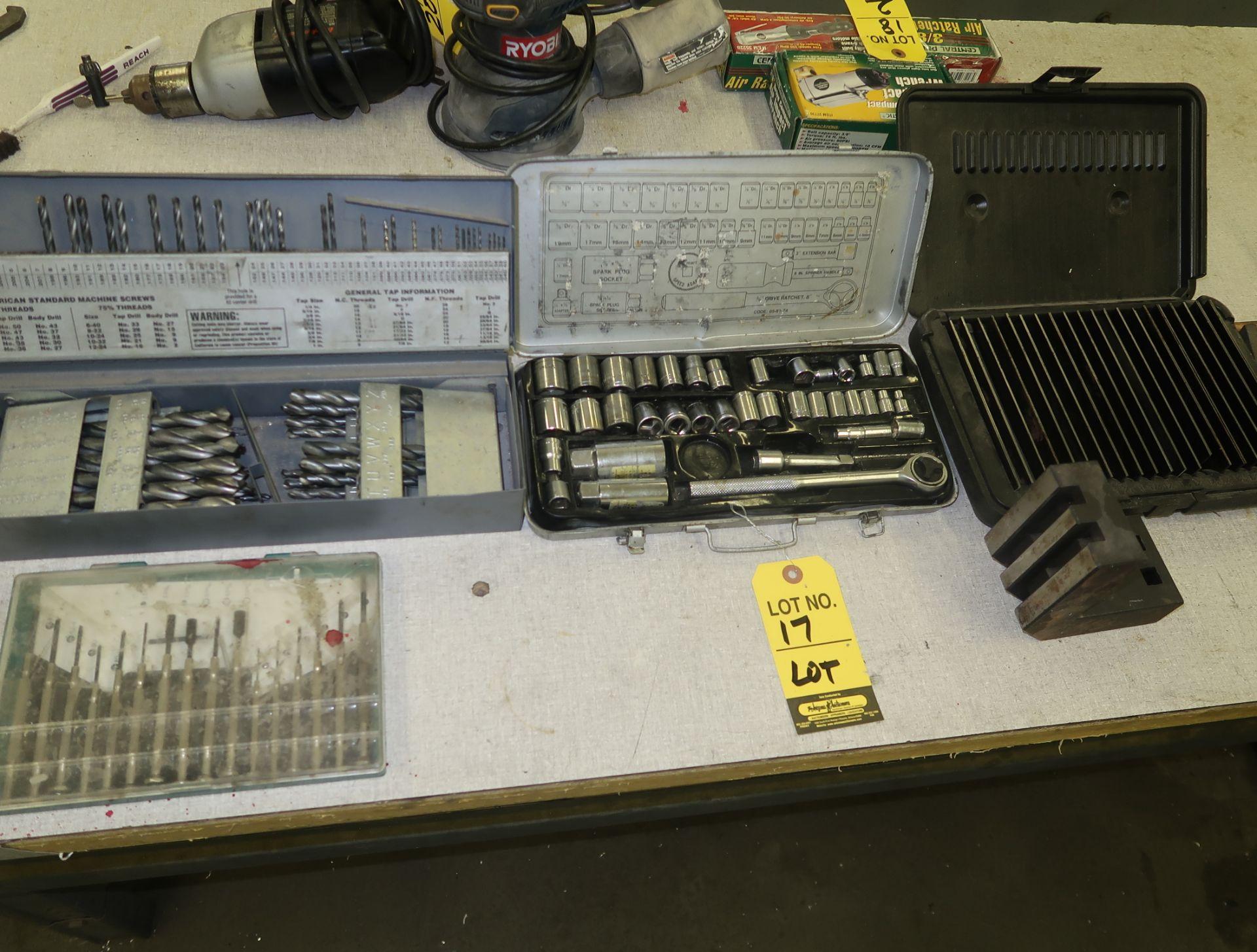 Lot 17 - LOT SOCKET SET, DRILL INDEX, PARALELLS, SMALL DRIVER SET, (2) KNIFE SETS