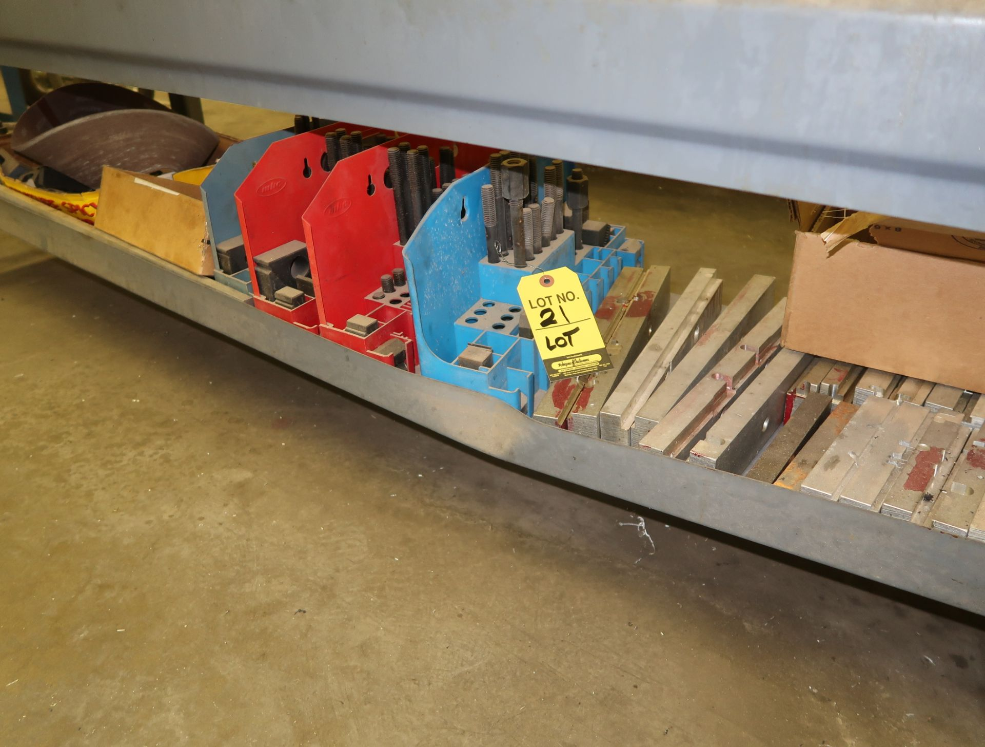 Lot 21 - LOT SHOP TABLE W/ TOOL CLAMP KITS, ETC. UNDER TABLE