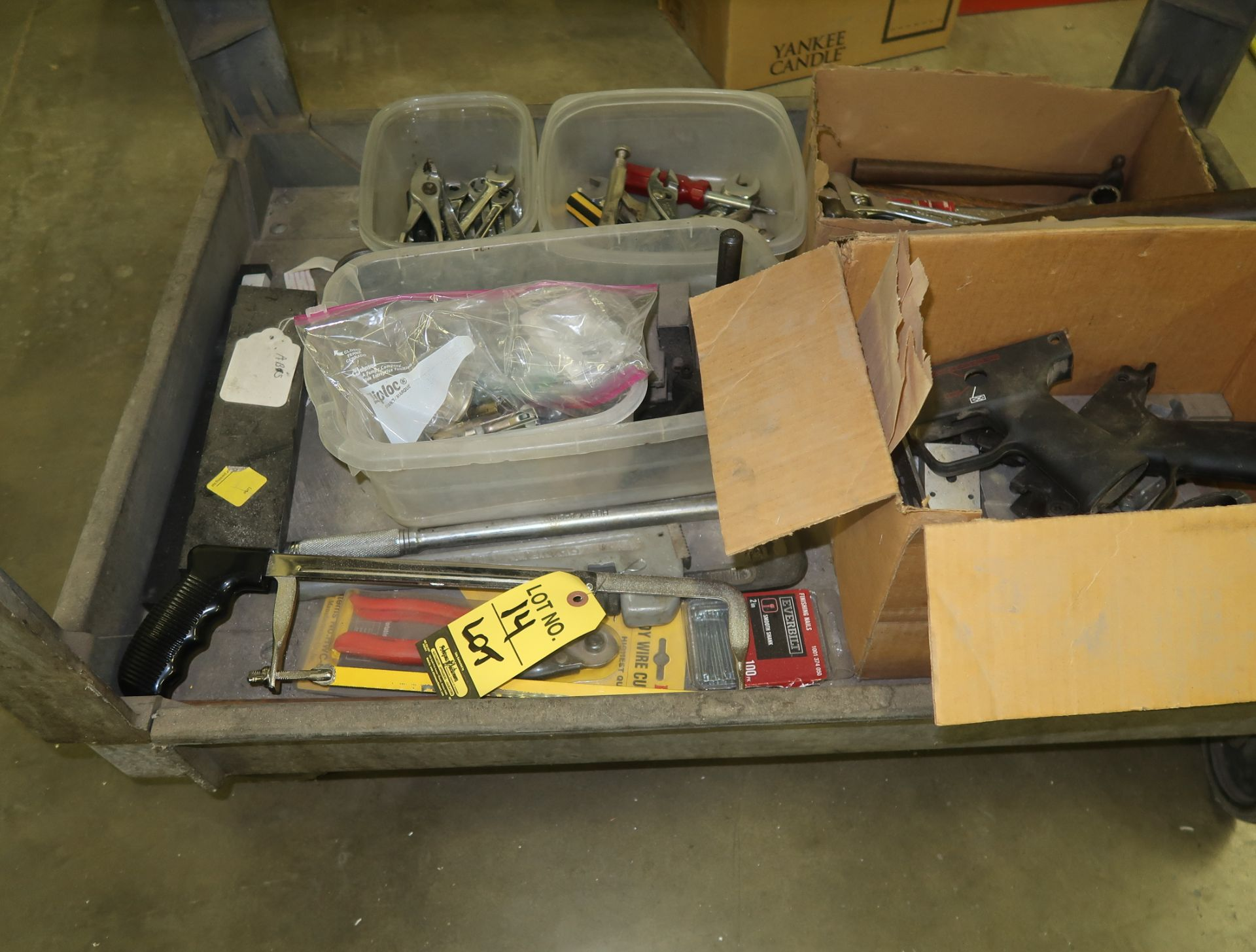 Lot 14 - LOT CONTENTS ON BOTTOM OF CART, WRENCHES, SAWS, ETC.