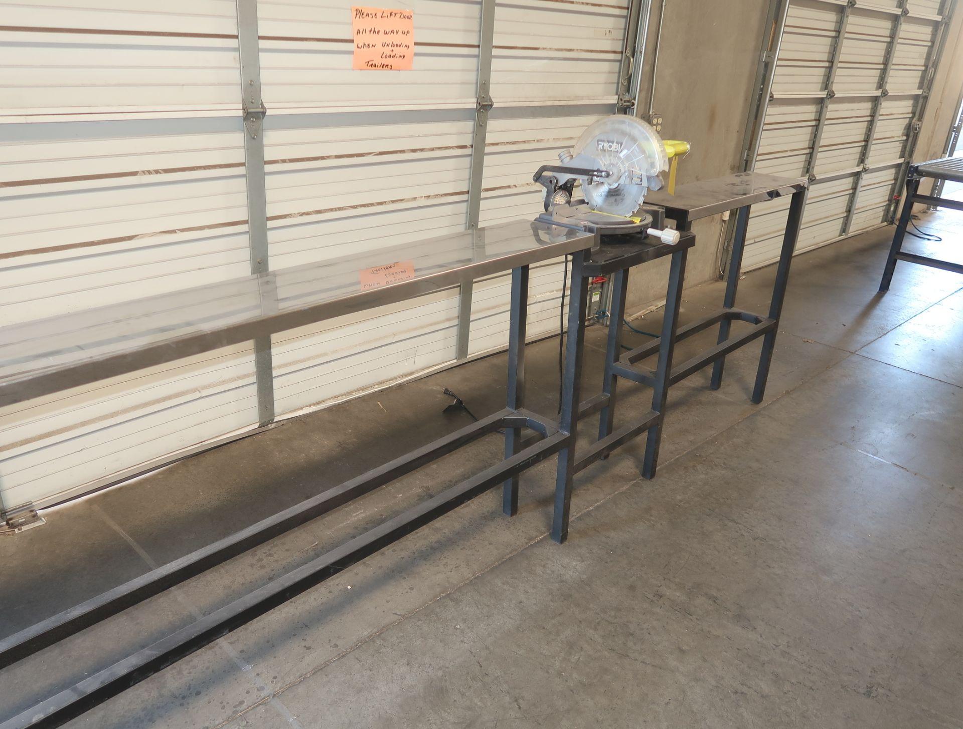 Lot 20 - RYOBI MITRE SAW CHOP W/ TABLE STAND MDL. T51345L