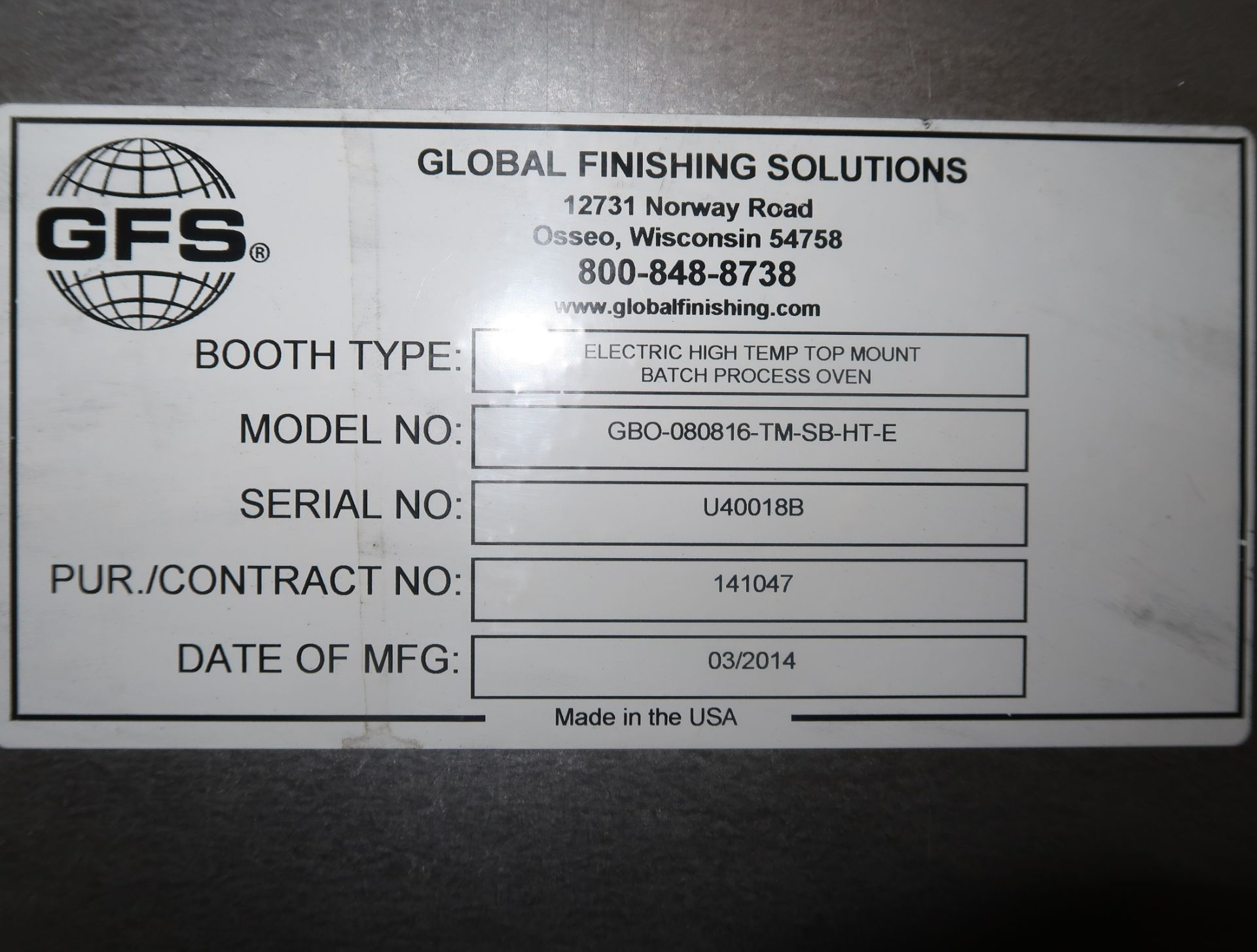 Lot 33 - GOLBAL FINISHING SOLUTIONS 8'X8'X16' ELEC. HIGH TEMP TOP MOUNT W/ CONTROL PANEL BATCH PROCESS OVEN