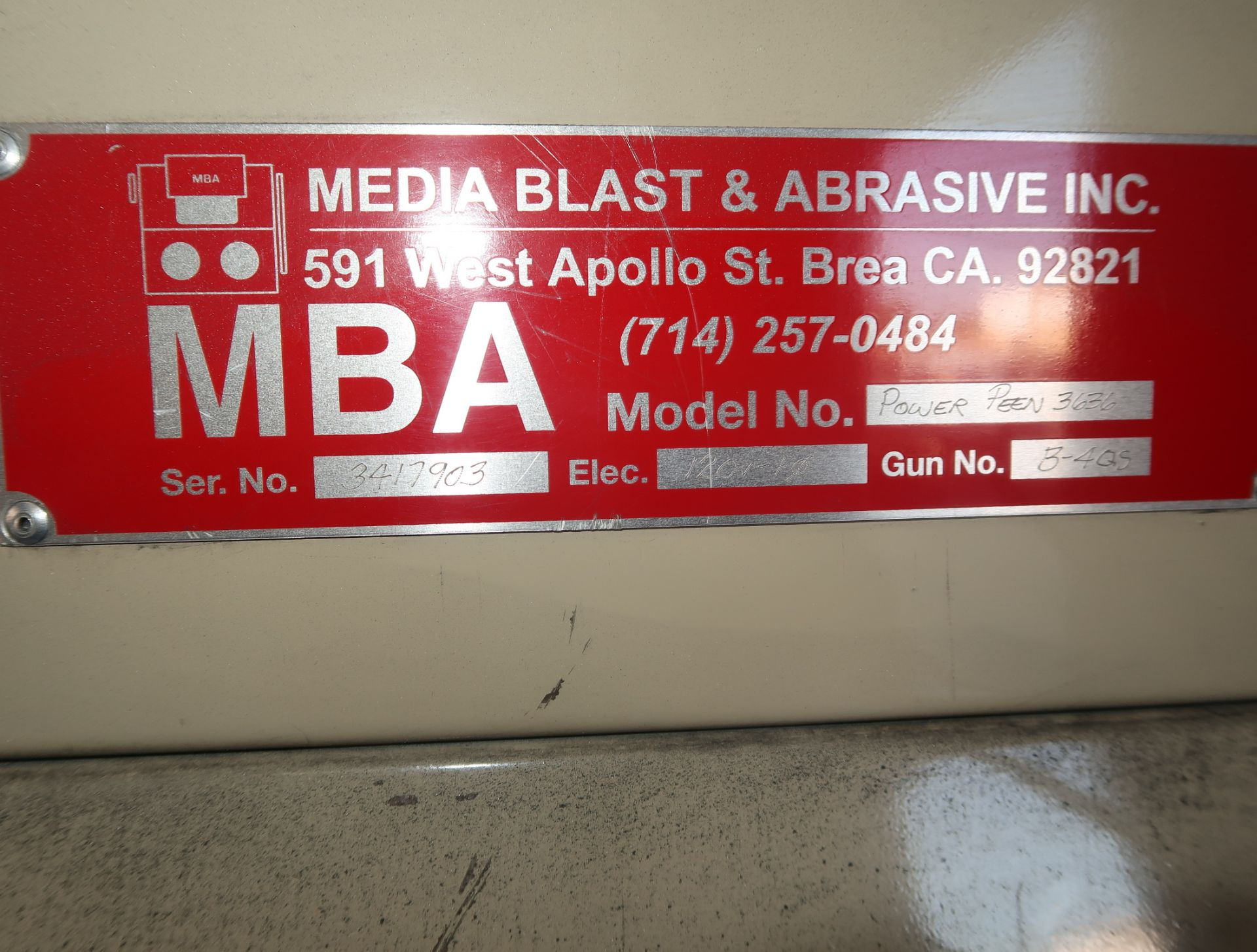 Lot 32 - MEDIA BLAST SINGLE STATION BLAST BOOTH MDL. POWER PEEN 3636 SN. 3417903