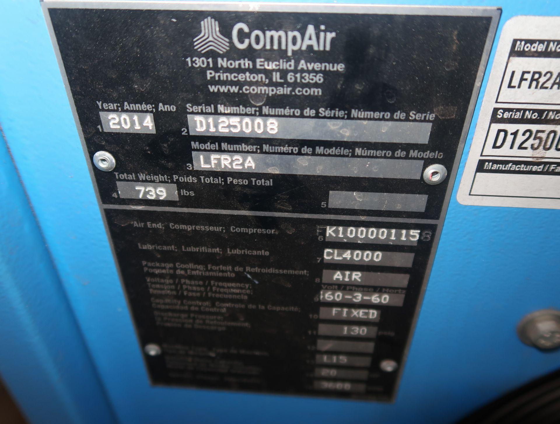 Lot 1 - 2014 COMP AIR 20HP ROTARY SCREW AIRCOMPRESSOR MDL. LFRZA, 3PH W/ VERTIAL AIR RECEIVER, SN. D125008