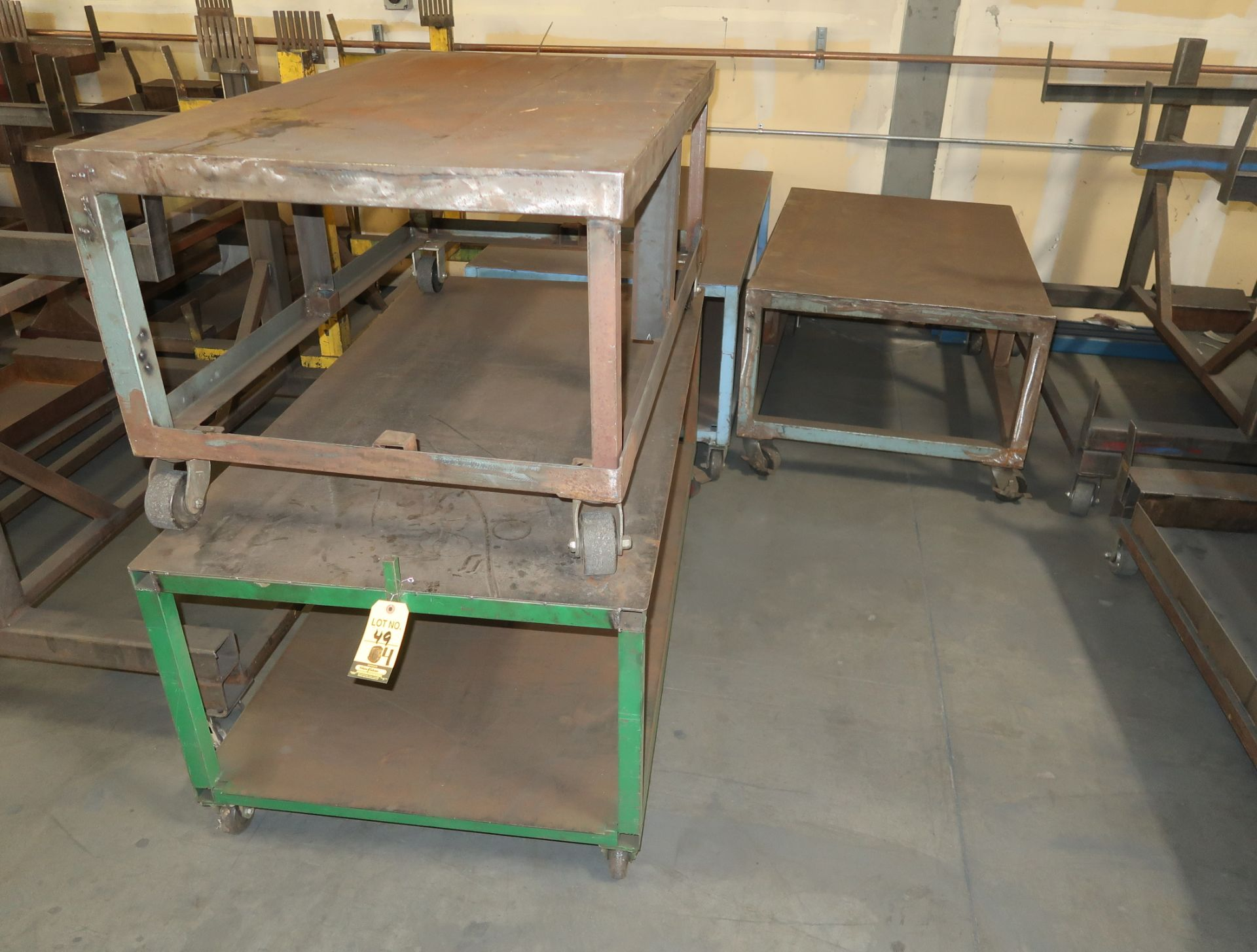 "Lot 49 - FLAT TOP SHOP FABRICATED CARTS 32""X52"""