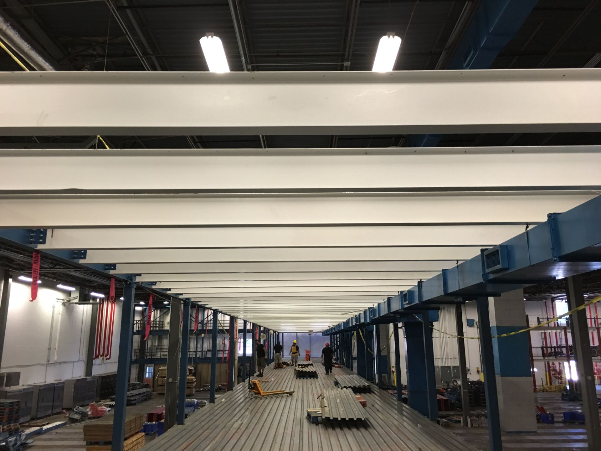 1500 SQ FT OF MEZZANINE WITH WOODEN FLOOR DECKING, OVERALL SIZE: 18'W X 84'LONG