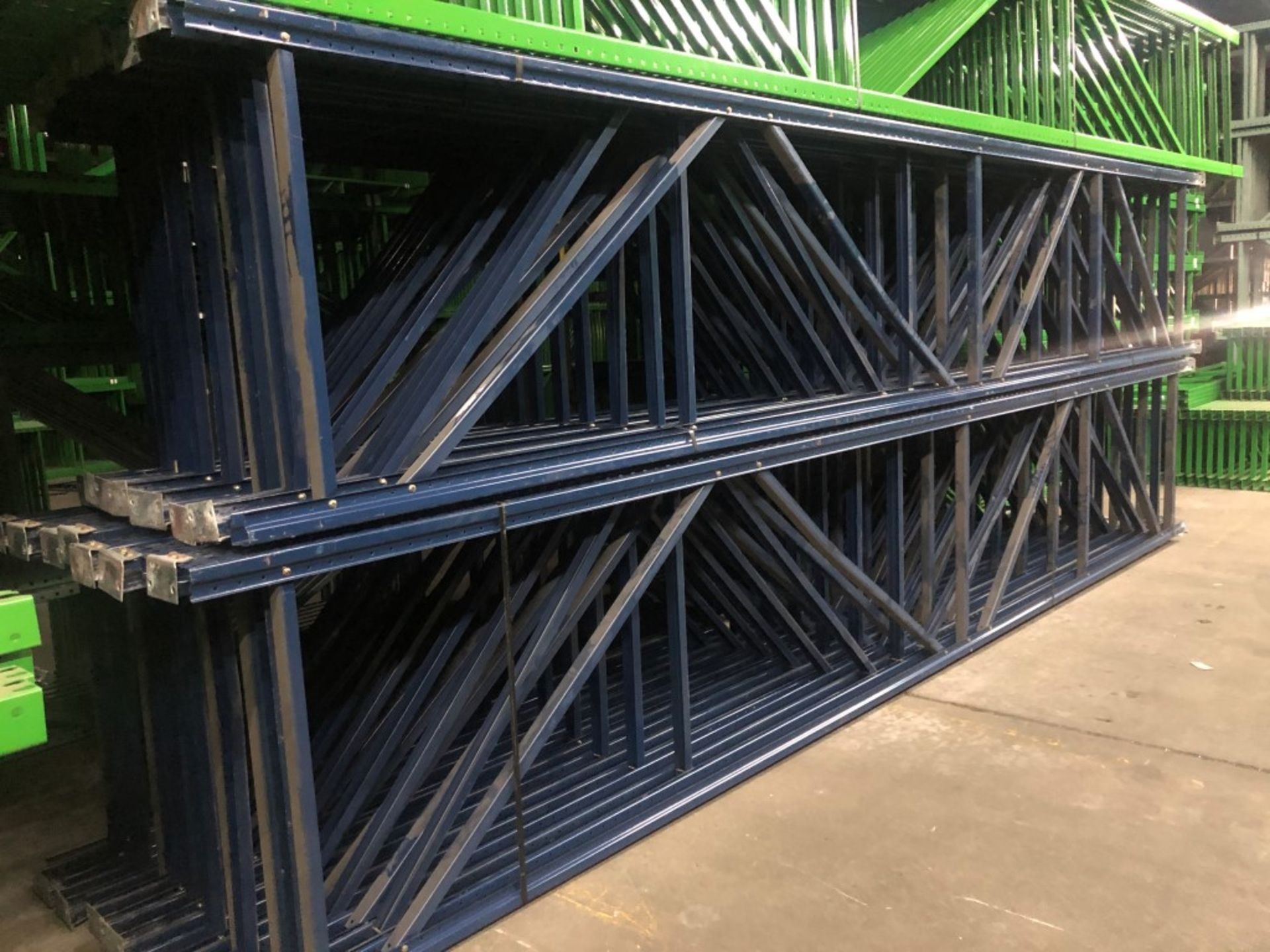 "Lot 4 - 14 BAYS OF 20'H X 42""D X 96""L USED TEARDROP STYLE PALLET RACKS"