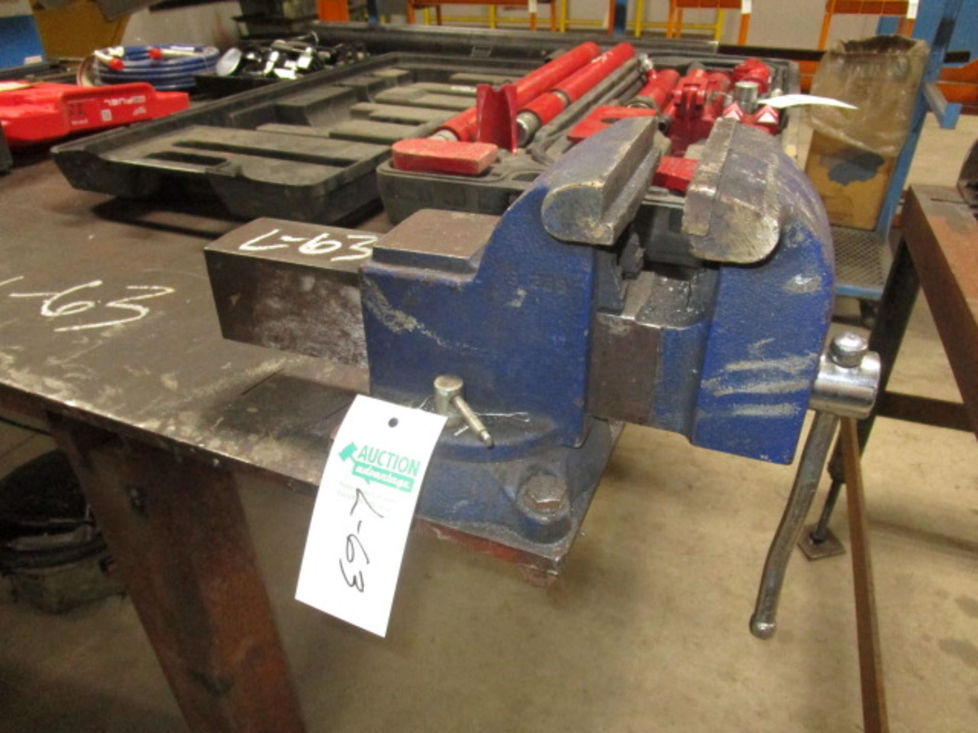 """Lot 63 - Steel Table with 2 Vices 4' X 10' - 1/2"""" plate 38"""" High"""