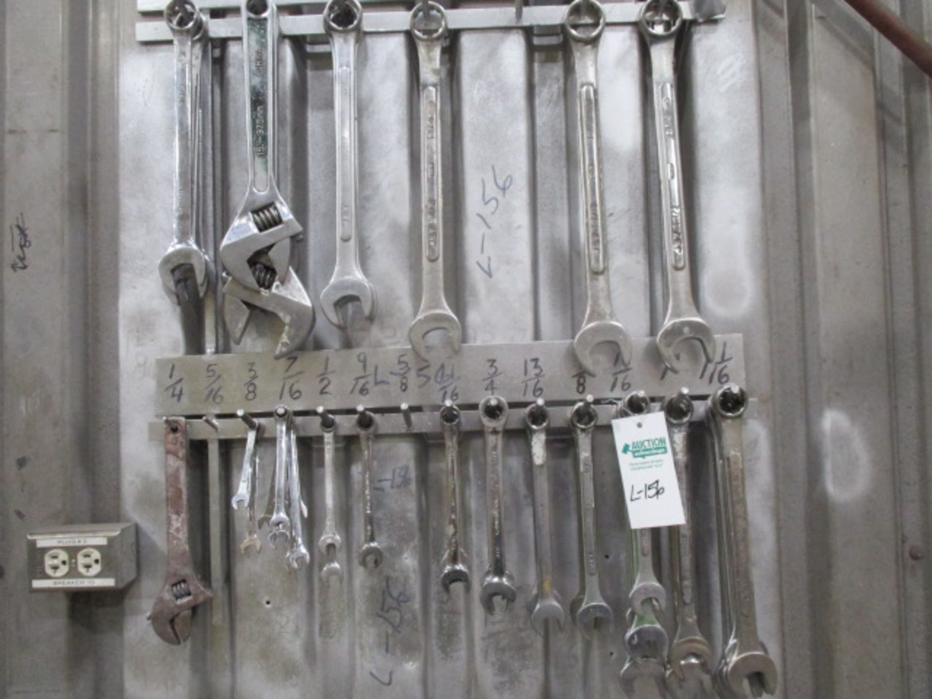Lot 156 - Wall Lot of Various Size Wrenches aprox 52