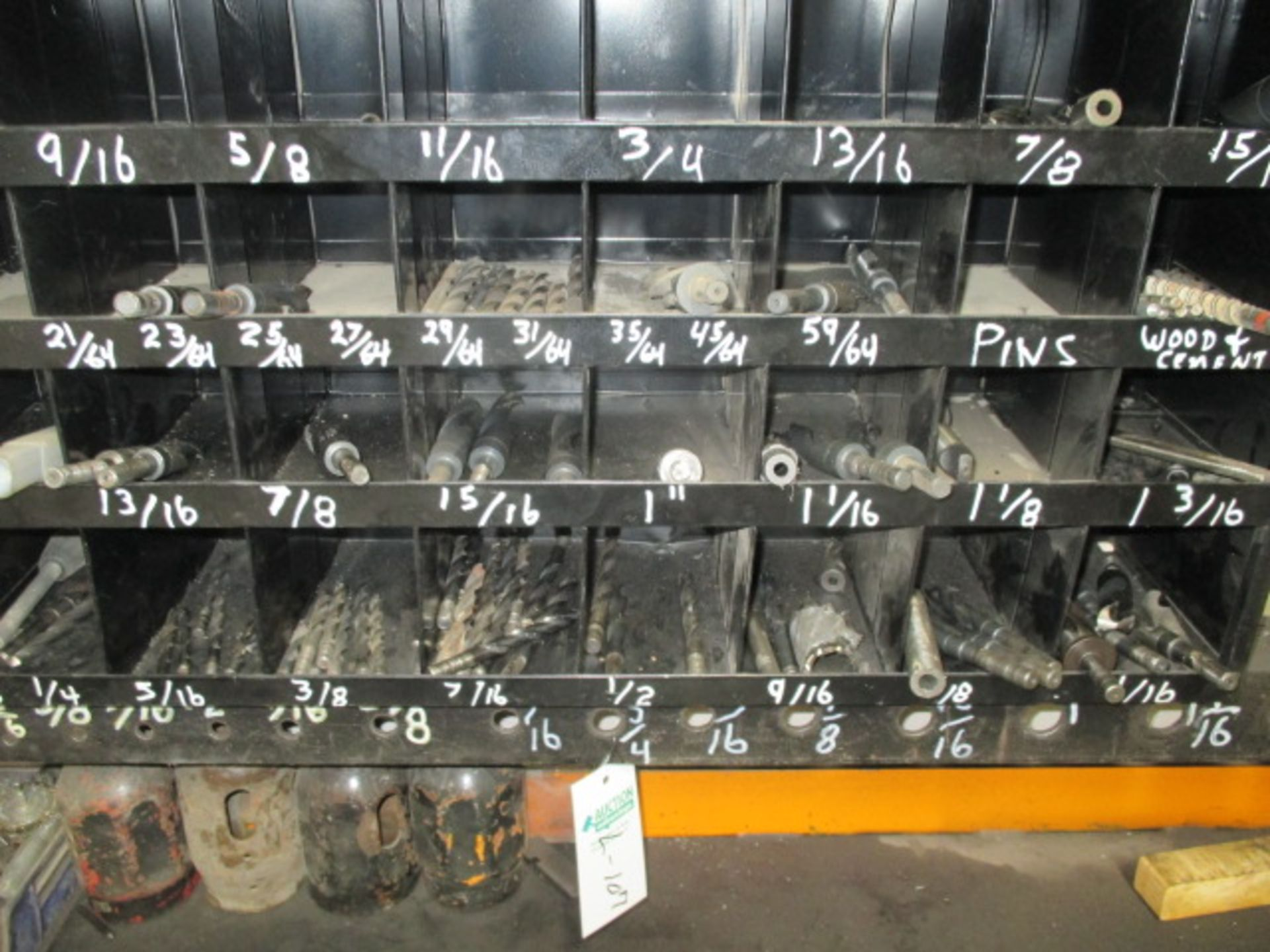 Lot 107 - 40 Compartment Bolt Bin and Contents (drill bits)