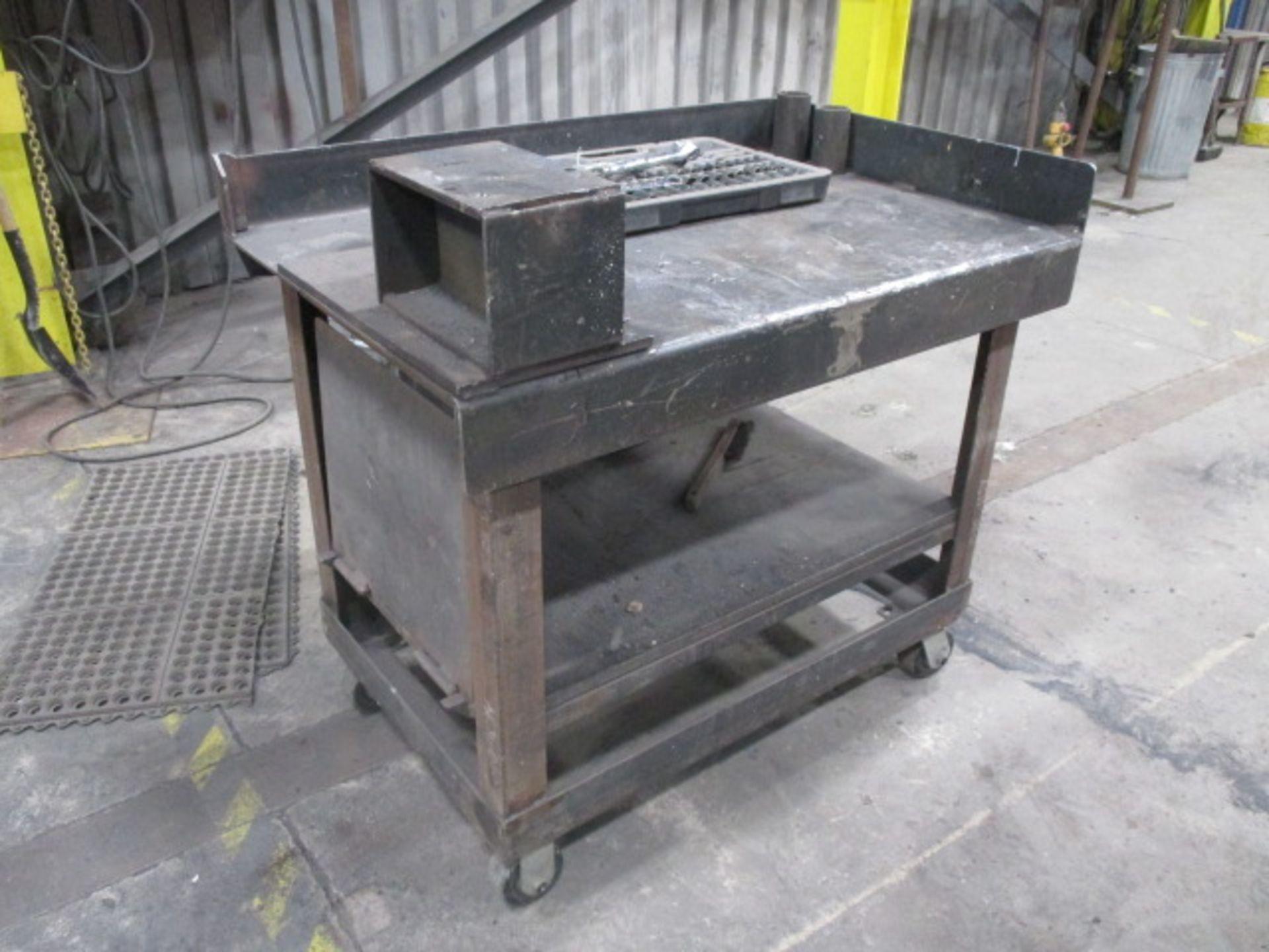 "Lot 206 - Metal Worktable approx 26"" X 40"" - Socket Set (mobile)"