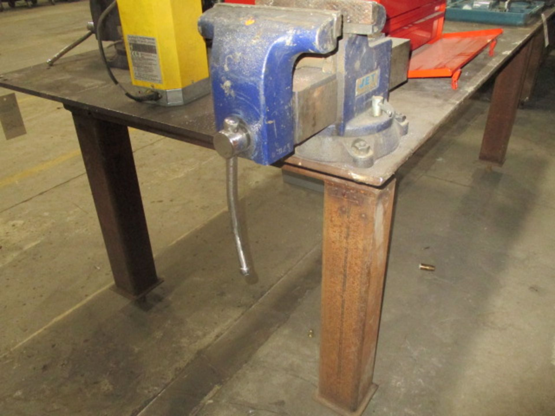 """Lot 215 - Steel Table with Vice - 1/2"""" Plate 99"""" X 48"""""""