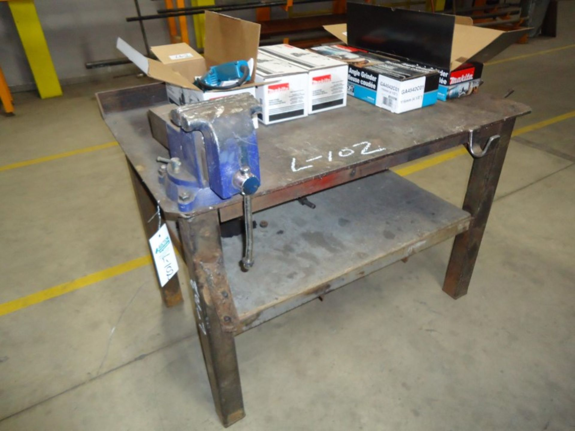 "Lot 102 - Steel Work Table 1/4"" Plate with vice 30""w X 48""l X 33"" high"