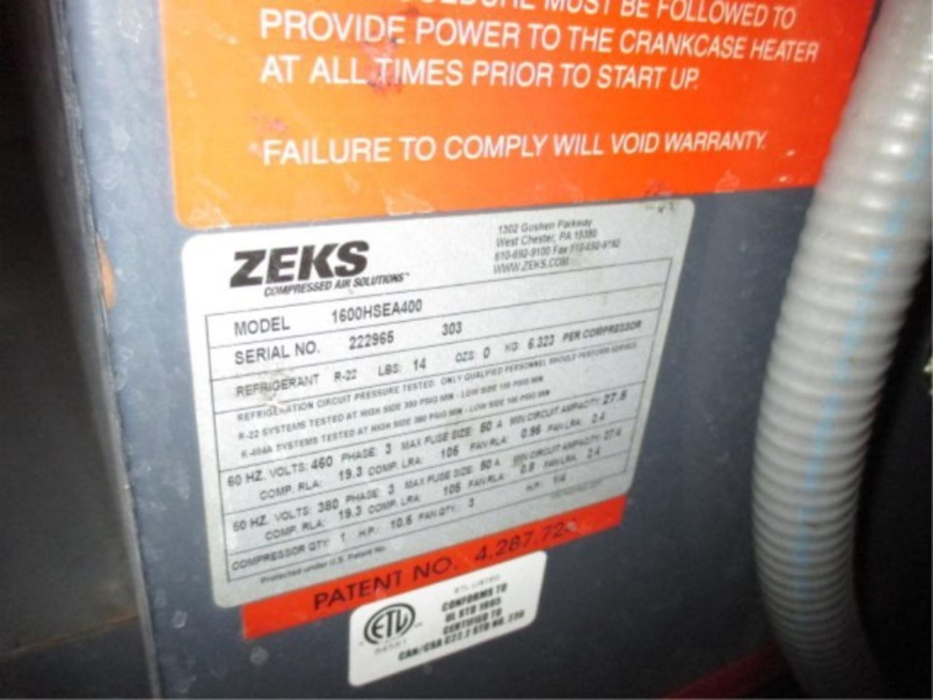 Lot 23A - Zeks Air Dryer, Year 2004