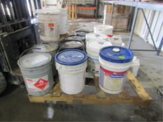Pallet of Miscellaneous, 5 Gallon Buckets, Waterstop, Clear Shield 350VOC, Top Coat Clear Solv, Safe