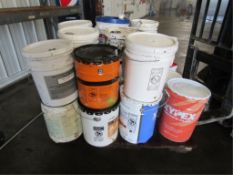 Pallet of Miscellaneous, 5 Gallon Buckets, Safe Cure, Patch N Plug, Goedecke Release Kote, ADM