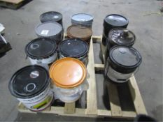 Pallet of (11) 5 Gallon Bucket of Misc., Poly Seal, Deactivator, Comfort Dry, Master Kure CC250XS