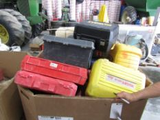 Box of Empty Assorted Tool Boxes, Located in Hopkinton, IA