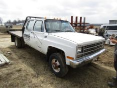 1989 Chevy Cheyenne 3500 Flatbed, 4x4, 4 Door Truck, Vin #1GBJV33N6MF305430, 179867 miles