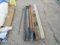 Assorted Levels, Site Rods, Scrapers, Hole Digger (2) Levels, (2) Site Rods, (1) Post Hole