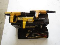 (3) DeWalt Stud Guns, Model PTM-27 with toolbox and accessories