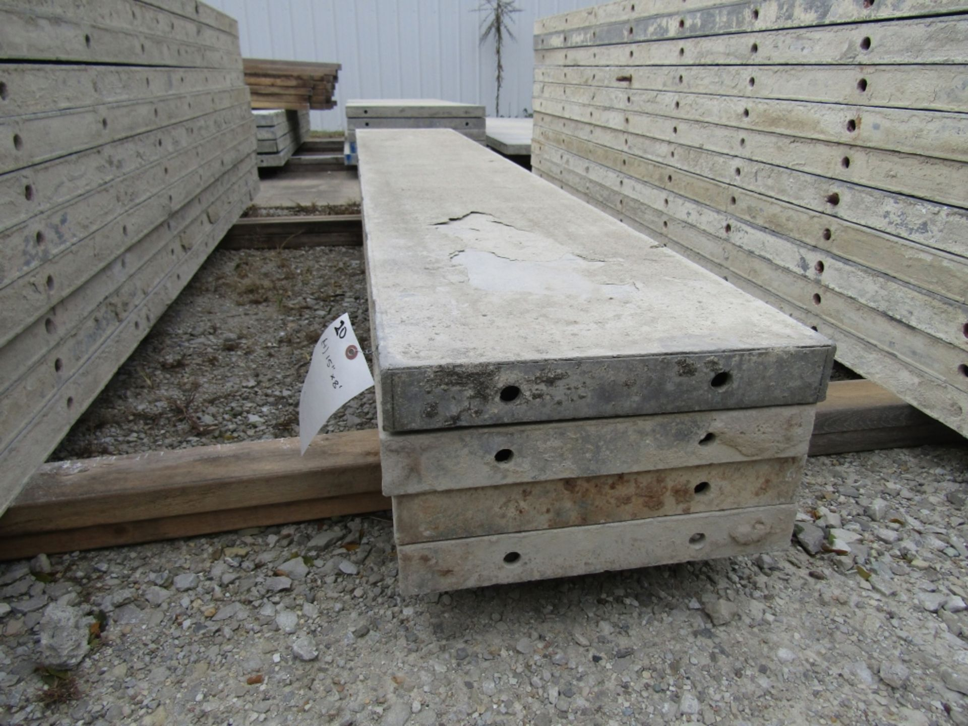 """(4) 15"""" x 8' Durand Concrete Forms, Smooth 6-12 Hole Pattern, Attached Hardware, Located in Mt."""