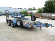 "1999 Mobile Mfg. Tandem Axle Trailer, VIN # 1M9FA142XX131988503, Ramps 14' 4"" x 6'6"", Wood Deck,"