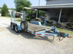 "1999 Mobile Mfg. Tandem Axle Trailer, VIN # 1M9FA1428X1319852, Ramps 14'4"" x 6' 6"", Wood Deck,"