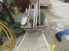 Wheelbarrow & Miscellaneous Shovels, Brooms