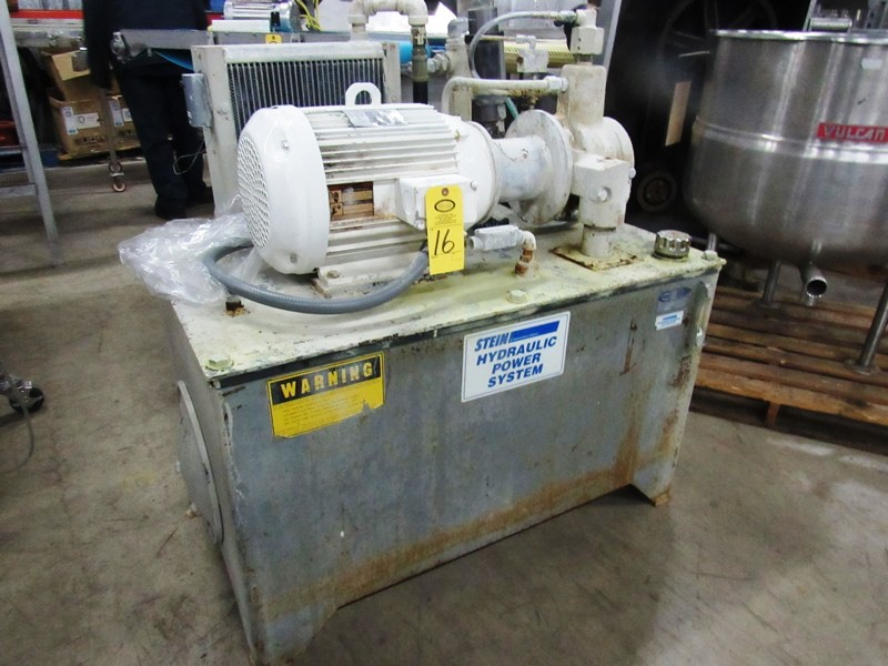 "Lot 16 - Stein Hydraulic Power Pack, 26"" W X 46"" L X 21"" D reservoir, 20 h.p., 230/460 volt motor on pump,"