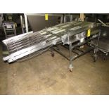 "Lot 22 - Stainless Steel Conveyor, 34"" W X 92"" L stainless steel ladder chain belt, hydraulic motor on"