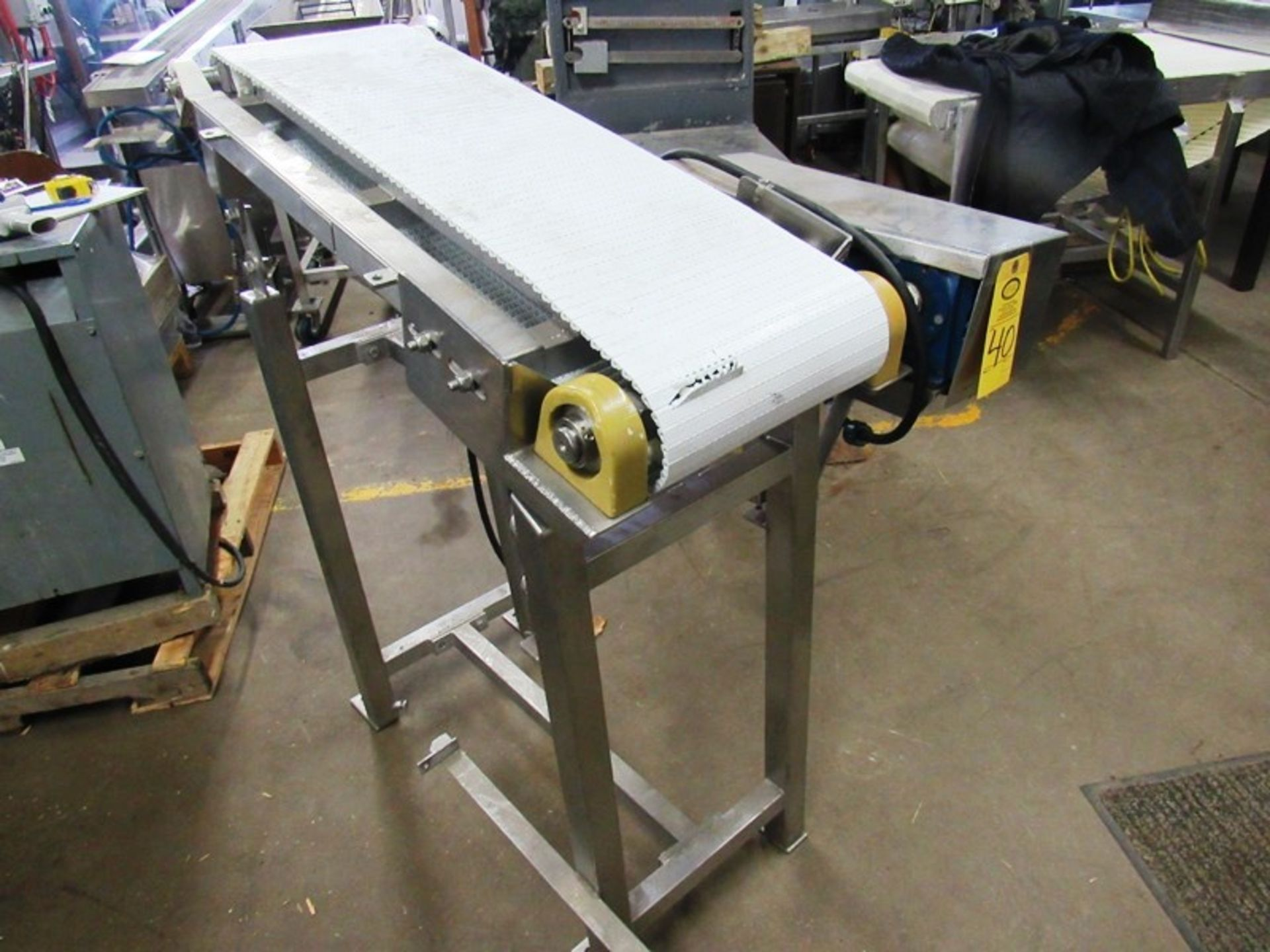 """Lot 40 - Stainless Steel Conveyor, 12"""" W X 40"""" L, adjustable incline to flat, 230/460 volt motor"""