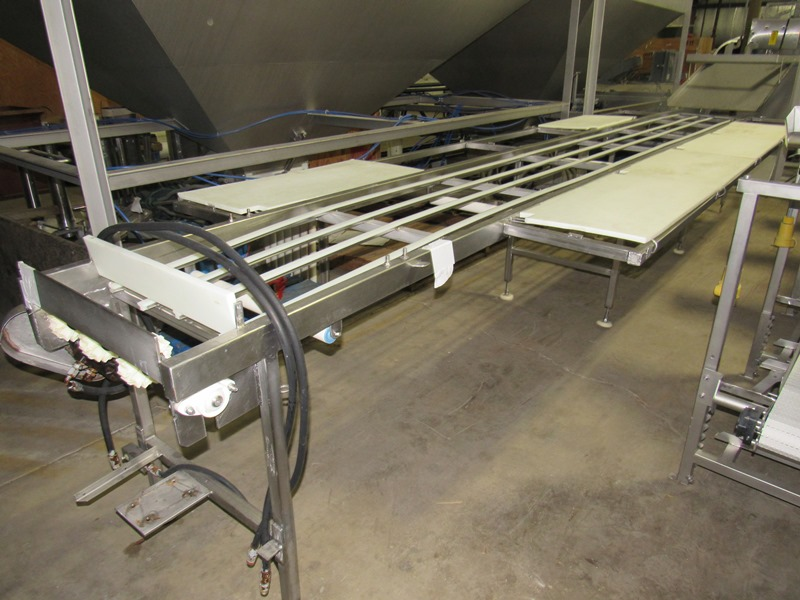 "Lot 26 - Stainless Steel Pack-Off Conveyor, 24"" W X 21' L, 5-stations each side, hydraulic drive, missing"