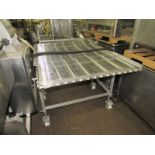 "Lot 29 - Stainless Steel Conveyor, 39 1/2"" W X 65"" L stainless steel ladder chain belt, hydraulic drive"