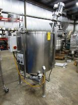 "Lot 24 - Stainless Steel Mix Tank, 38"" dia. X 36"" D flat bottom, 1"" bottom outlet with Admix stainless"