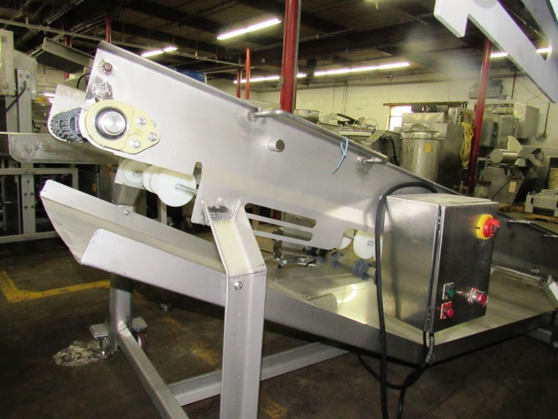 "Lot 55 - Stainless Steel Incline Conveyor, 32"" W X 12' L (no belt), 3/4 h.p. S/S 208/230/460 volt motor, drip"