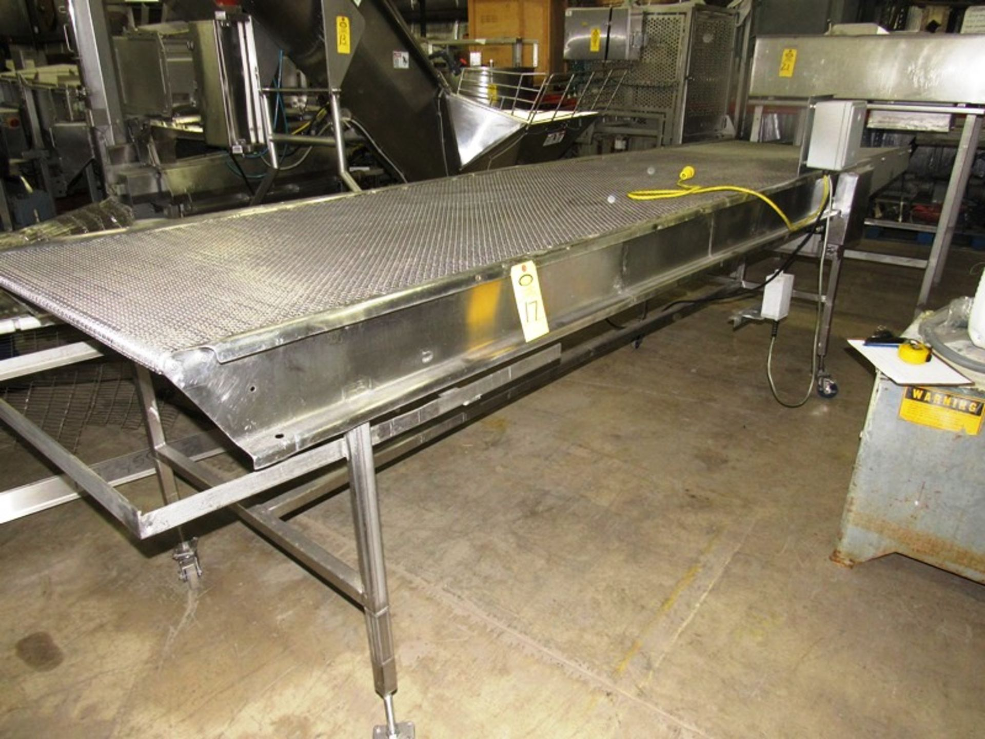 """Lot 17 - Stainless Steel Conveyor, 40"""" W X 14' L stainless steel mesh belt on wheels, 115 volts"""